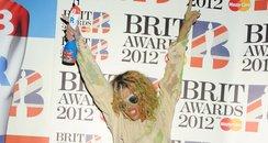 Rihanna backstage at the BRIT Awards 2012