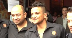 Peter Andre arrives to open his Coffee shop