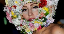 Lady Gaga London Fashion Week wearing a flowery he