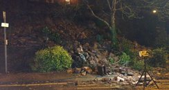 Tonnes of rubble fell onto footpath
