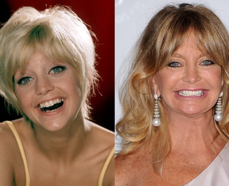 A young Goldie Hawn and Goldie Hawn age 67