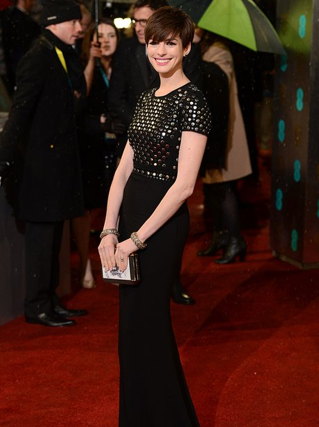 Anne Hathaway on the red carpet BAFTAs 2013