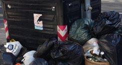 An overflowing bin in Brighton