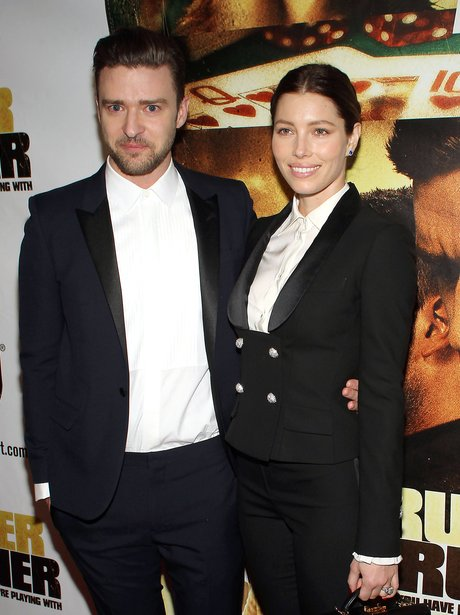 Justin Timberlake and Jessica Biel in matching suits