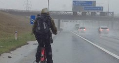Man cycles on M1 motorway