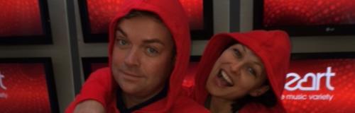 Stephen Mulhern & Emma Willis wear onesies