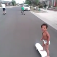 child on skateboard