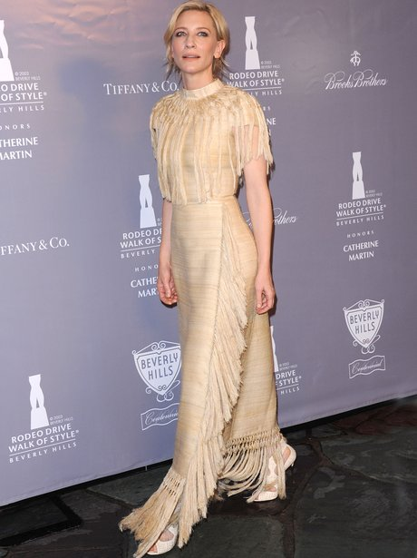 Cate Blanchett in creme tassle dress