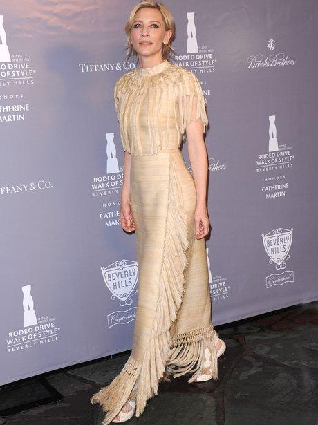 Cate Blanchett in creme tassle dress