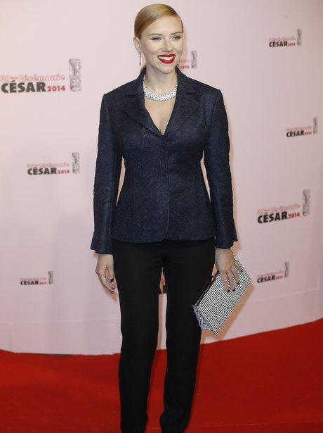 Scarlett Johansson in blue blazer