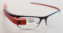 A pair of Google glasses