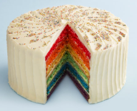 Rainbow cake with frosting