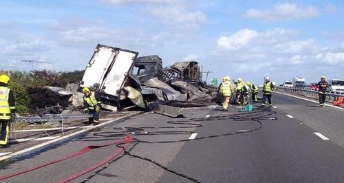 Farlington A27 lorry fire