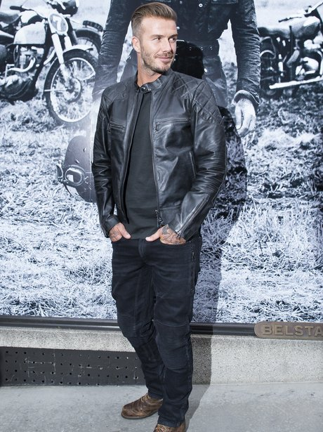 David Beckham in a black leather jacket