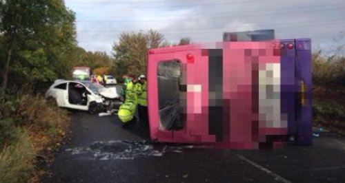 Overturned Double Decker Bus