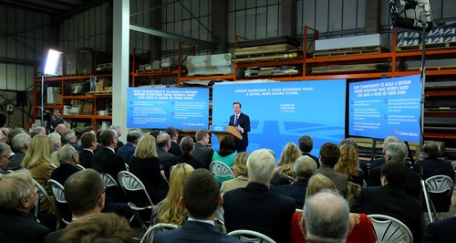 David Cameron gives a speech in Colchester.