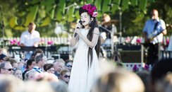 Angelina Jordan performing at a summer festival