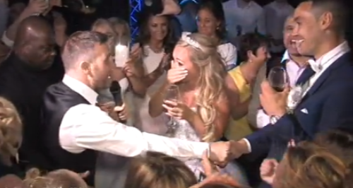 Gary Barlow sings to fan at wedding