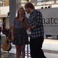 Ed Sheeran sings with fan