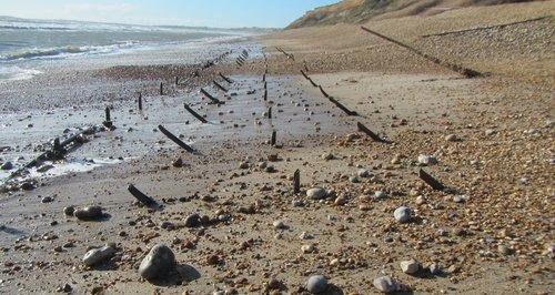 Hordle Beach WW2 spikes