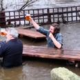 Men Drink Leeds Pub Flooded
