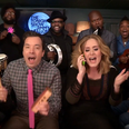 Adele sining with kids toys