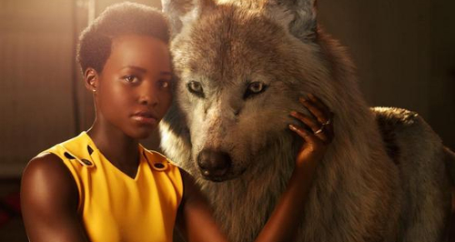 Lupita Nyong'o with wolf JungleBook disney photosh