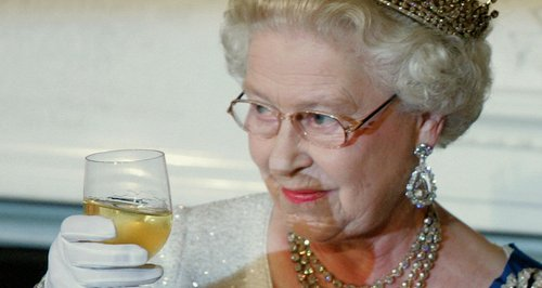 The Queen Elizabeth  drinking making a toast