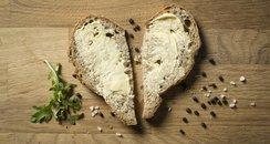 Butter on heart shaped bread