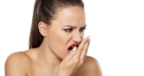 Smelly breath woman stock photo