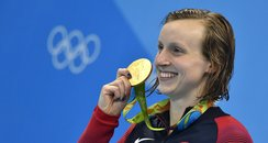 Katie Ledecky with her gold medal