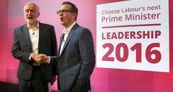 Jeremy Corbyn and Owen Smith in Glasgow