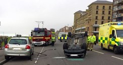 Driver flipped car on Hove seafront