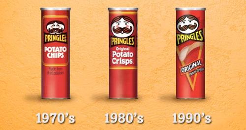 Pringles tubes through the years