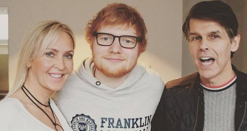 Ed Sheeran poses with Robin and Adele