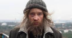 Cate Blanchett as homeless man in Manifesto