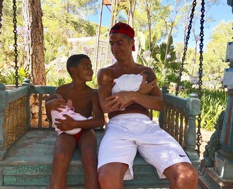 Cristiano Ronaldo cuddles twins